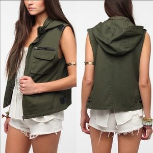 BDG Urban Outfitters Army Green Hooded Vest